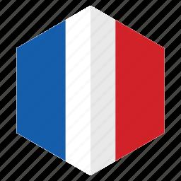 country, design, europe, flag, france, hexagon icon