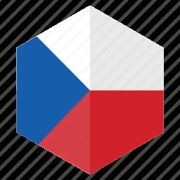 chech republic, country, design, europe, flag, hexagon icon