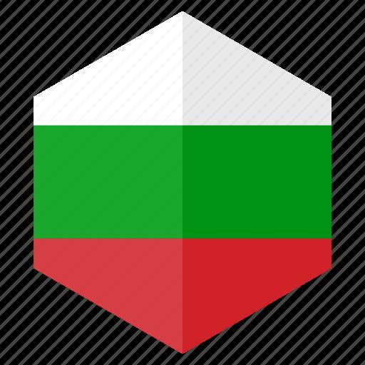 bulgaria, country, design, europe, flag, hexagon icon