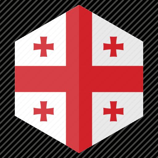 country, design, europe, flag, georgia, hexagon icon