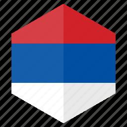country, design, europe, flag, hexagon, serbia icon