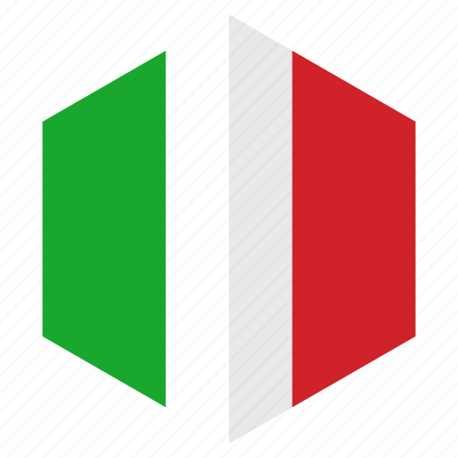 country, design, europe, flag, hexagon, italy icon