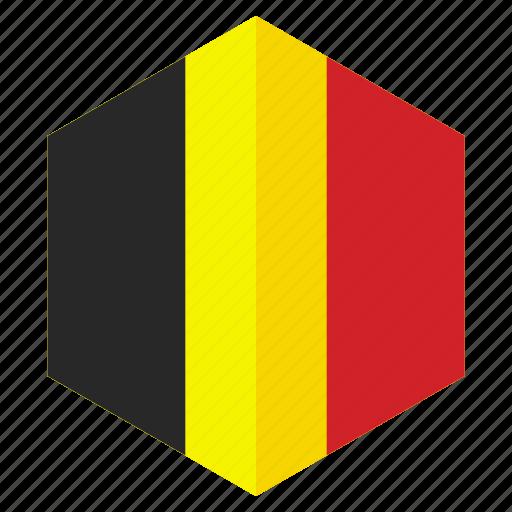 belgium, country, design, europe, flag, hexagon icon