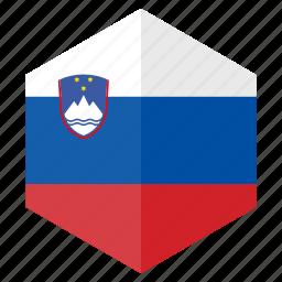 country, design, europe, flag, hexagon, slovenia icon