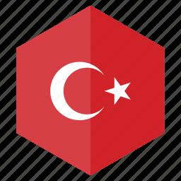 country, design, europe, flag, hexagon, turkey icon
