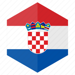 country, croatia, design, europe, flag, hexagon icon