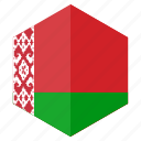 belarus, country, design, europe, flag, hexagon icon