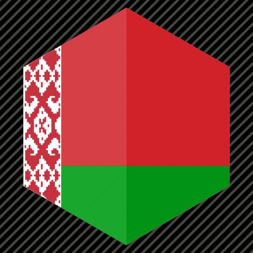 belarus, country, design, europe, flag, hexagon icon