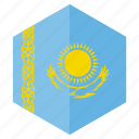 country, design, europe, flag, hexagon, kazakhstan icon