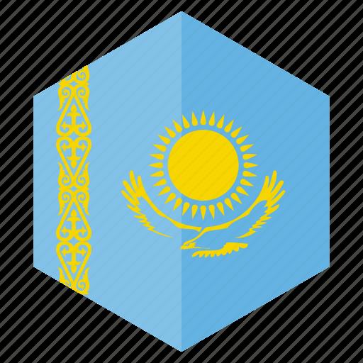 country, design, europe, flag, hexagon, kazakhstan icon