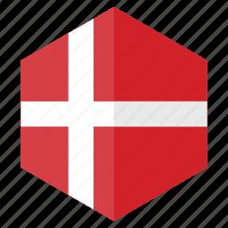 country, denmark, design, europe, flag, hexagon icon