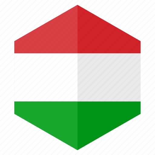 country, design, europe, flag, hexagon, hungary icon