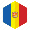 andorra, country, design, europe, flag, hexagon icon