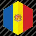 andorra, country, design, europe, flag, hexagon