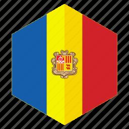 andorra, country, design, europe, flag, hexagon icon