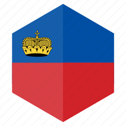 country, design, europe, flag, hexagon, liechtenstein icon