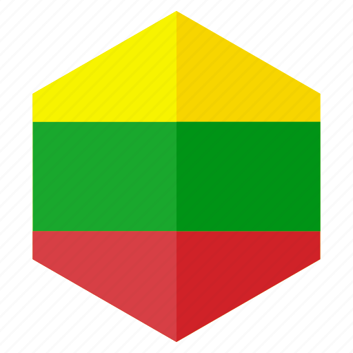 country, design, europe, flag, hexagon, lithuania icon