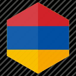 armenia, country, design, europe, flag, hexagon icon