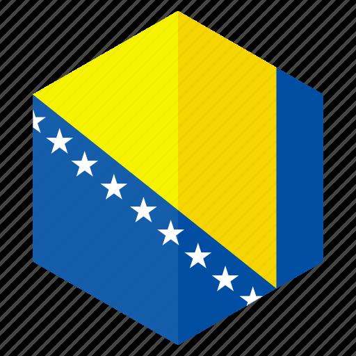 bosnia andherzegovina, country, design, europe, flag, hexagon icon