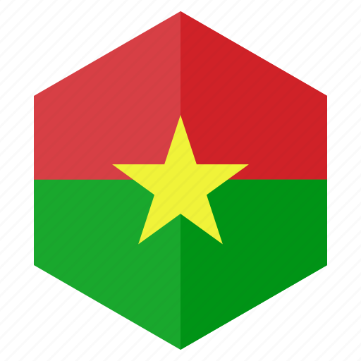 africa, burkinafaso, country, design, flag, hexagon icon