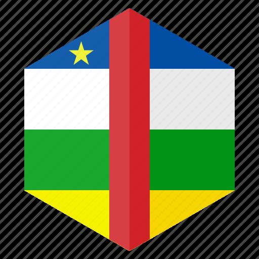 africa, centralafrican, country, design, flag, hexagon icon