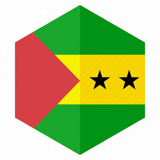 africa, country, design, flag, hexagon, saotome icon