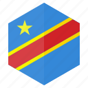 africa, congo, country, design, flag, hexagon icon