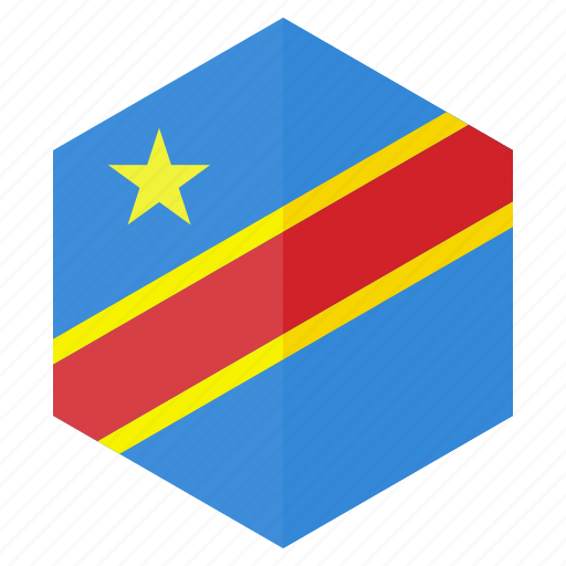 africa, congo, country, design, flag, hexagon icon