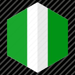 africa, country, design, flag, hexagon, nigeria icon