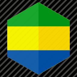 africa, country, design, flag, gabon, hexagon icon