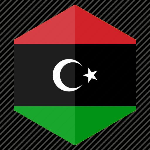 africa, country, design, flag, hexagon, libya icon
