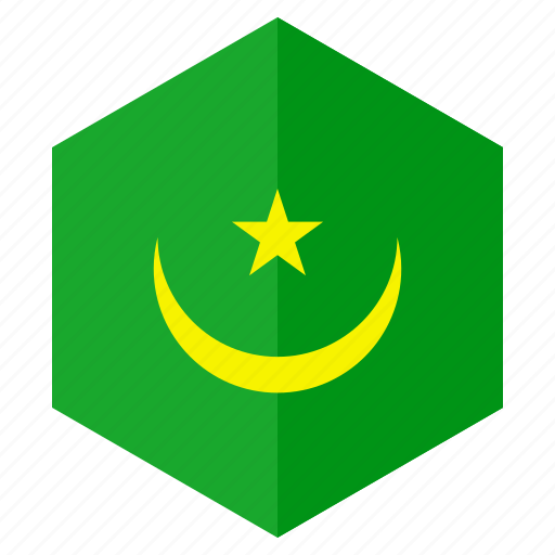 africa, country, design, flag, hexagon, mauritania icon