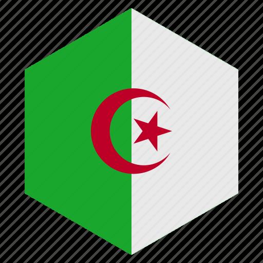 africa, algeria, country, design, flag, hexagon icon