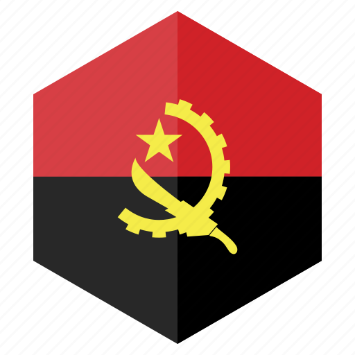 africa, angola, country, design, flag, hexagon icon