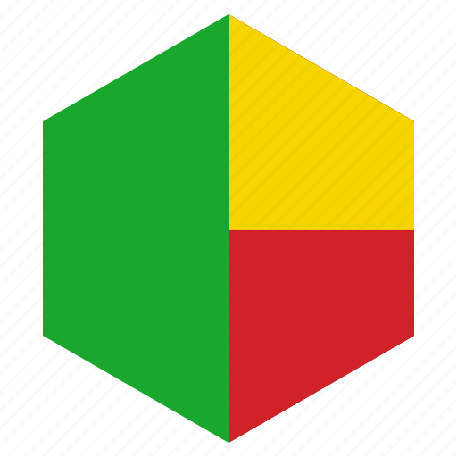 africa, benin, country, design, flag, hexagon icon