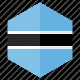 africa, botswana, country, design, flag, hexagon icon