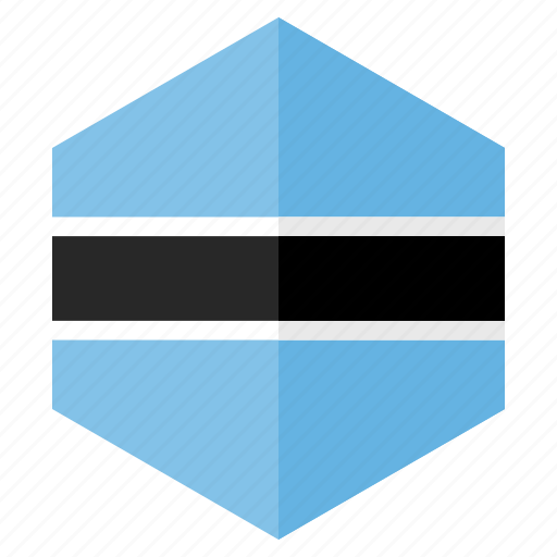 africa, botswana, country, design, flag, hexagon icon