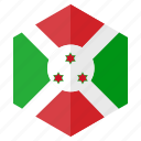 africa, burundi, country, design, flag, hexagon icon