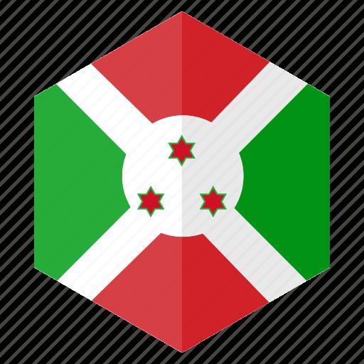 africa, burundi, country, design, flag, hexagon icon