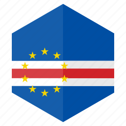africa, cape_verde, country, design, flag, hexagon icon