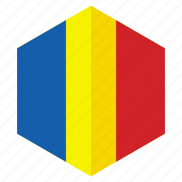 africa, chad, country, design, flag, hexagon icon