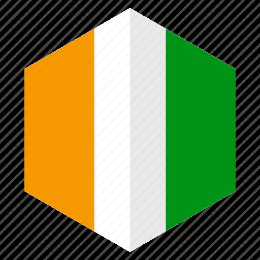 africa, country, design, flag, hexagon, ivorycoast icon