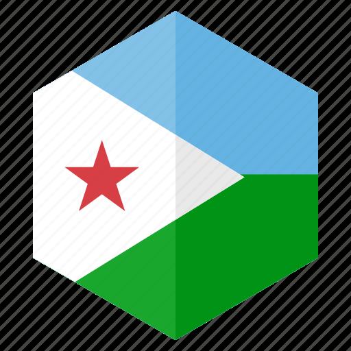 africa, country, design, djibouti, flag, hexagon icon