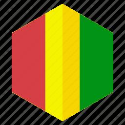 africa, country, design, flag, guinea, hexagon icon
