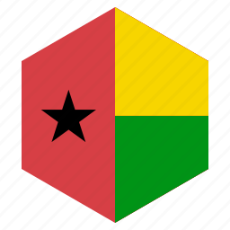 africa, country, design, flag, guineabissau, hexagon icon