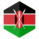 africa, country, design, flag, hexagon, kenya icon