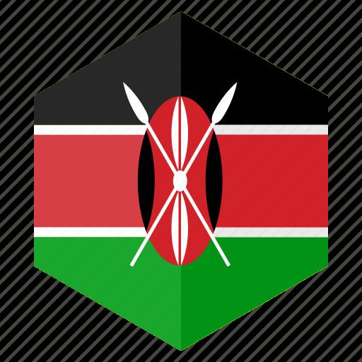 africa, country, design, flag, hexagon, kenya icon