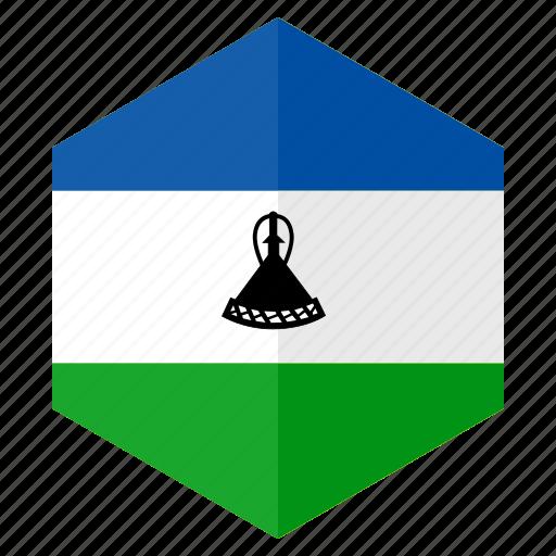 africa, country, design, flag, hexagon, lesotho icon
