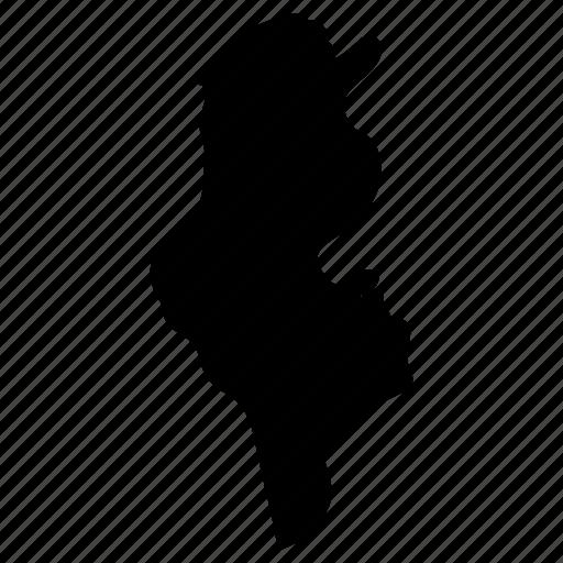 Map, tunis, tunisia, tunisia map icon