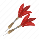 point, weapon, metal, dart, plumage, wind icon